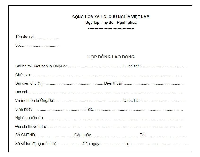 Bản dịch Hợp đồng lao động tiếng Anh