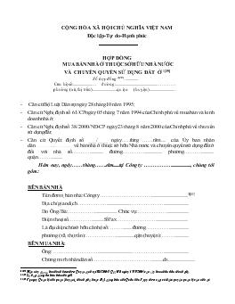 Bản dịch Hợp đồng mua bán nhà thuộc Sở hữu nhà nước