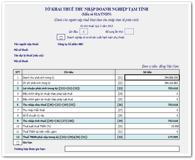 Bản dịch Tờ khai thuế thu nhập doanh nghiệp tạm tính tiếng Anh