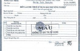 Bản dịch Biên lai thu thuế sử dụng đất phi nông nghiệp tiếng Anh